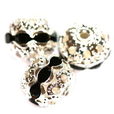 Perles aluminium  10mm  Noir / par pièce / KD6816