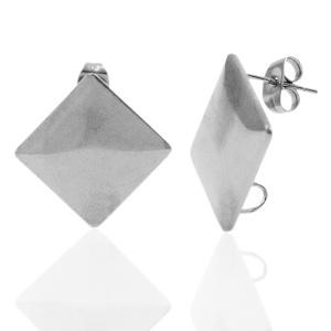 Oorsteker Vierkant met oog, zilver  /  2 stuks  / KD71798