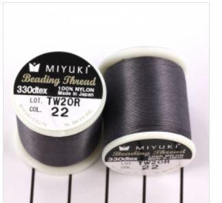 Miyuki Nylon Rijgdraad B -  Donker grijs  - 50 meter - Nummer 22
