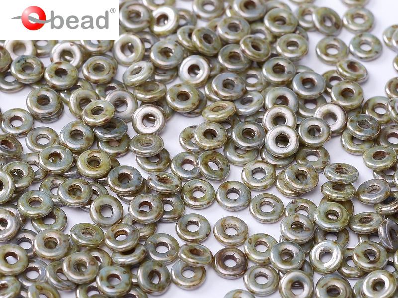 O bead  2 x 4 mm Chalk White Blue Luster 2x4mm / 5 gram / KD61036