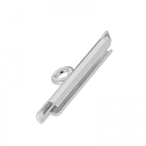 Loom Slide , end Cap  15 mm rhodium  / 4 stuks /KD7132