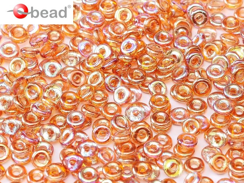 O bead  Crystal  Orange Rainbow 2x4mm / 5 gram / KD61043