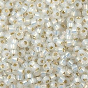 Miyuki Rocaille 11/0 Nr 0551 - 10 gram / Gilt lined white opal
