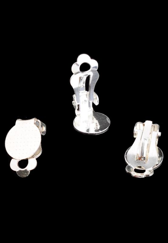 Clip oorbellen Zilverkleur  16x10mm / 2 paar / KD26713