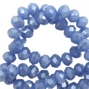Blauw Pearl shine 6x4mm / 100 stuks / KD56359