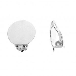 Clip oorbellen  18mm, zilver plated  / Per set / KD9