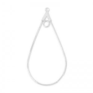 Creool oorbelhaakjes ovaal 23x43.5  Zilverkleur / 2 stuks / KD12277