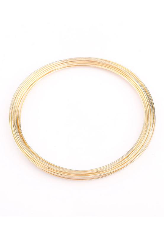 Bracelet spirale en métal fil mémoire Ø 60mm /doré/, 0,6mm d'épaisseur / 20 spires / KD25095