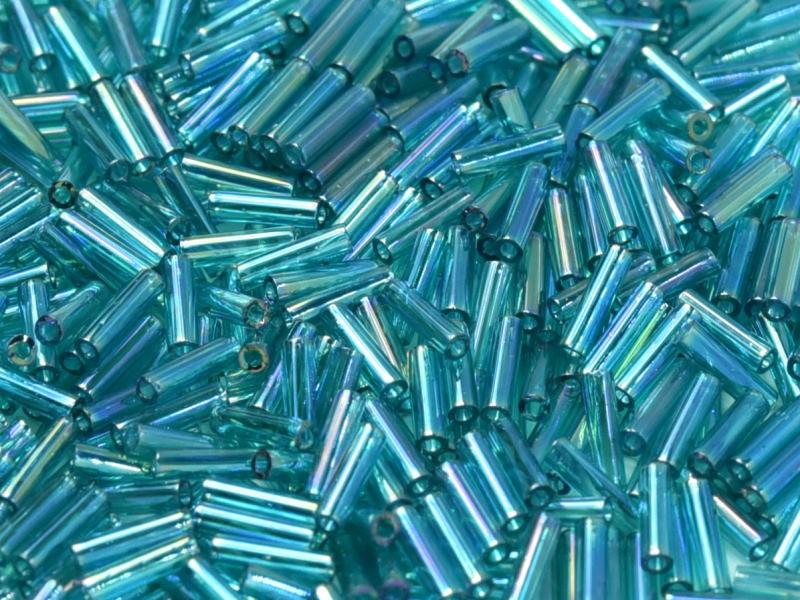 Miyuki Bugles 6mm Transparent Teal AB  / 10 grammes /  KD70001