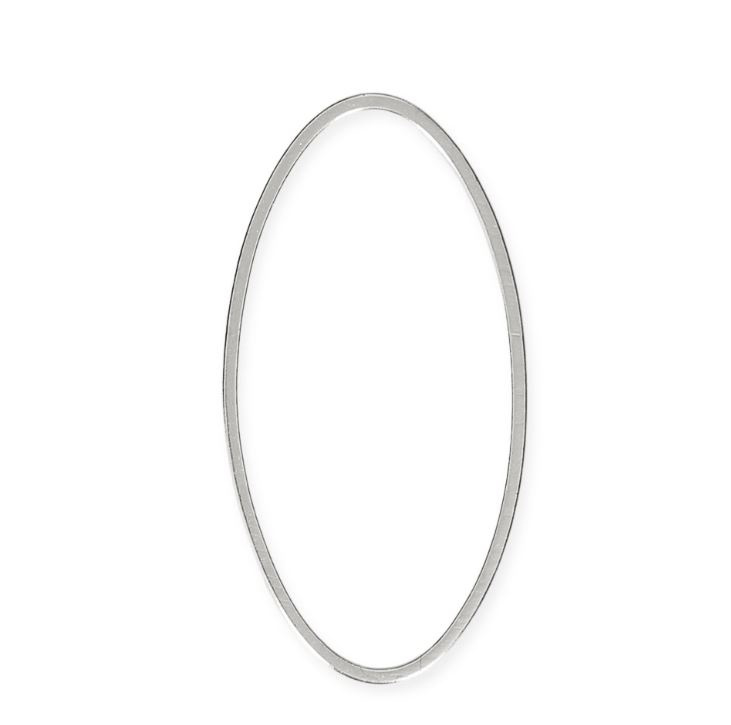 Anneau Ovale  53mmx28mm , Rhodium / Par pièce / KD24932