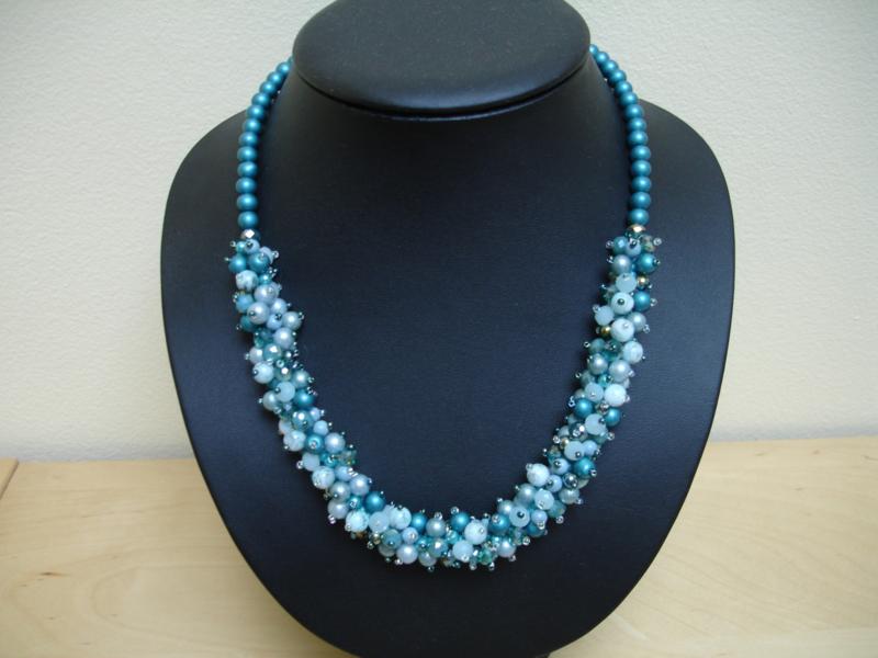 Pakketje waaier van kralen -  Blauw / Turquoise - Nr 1261