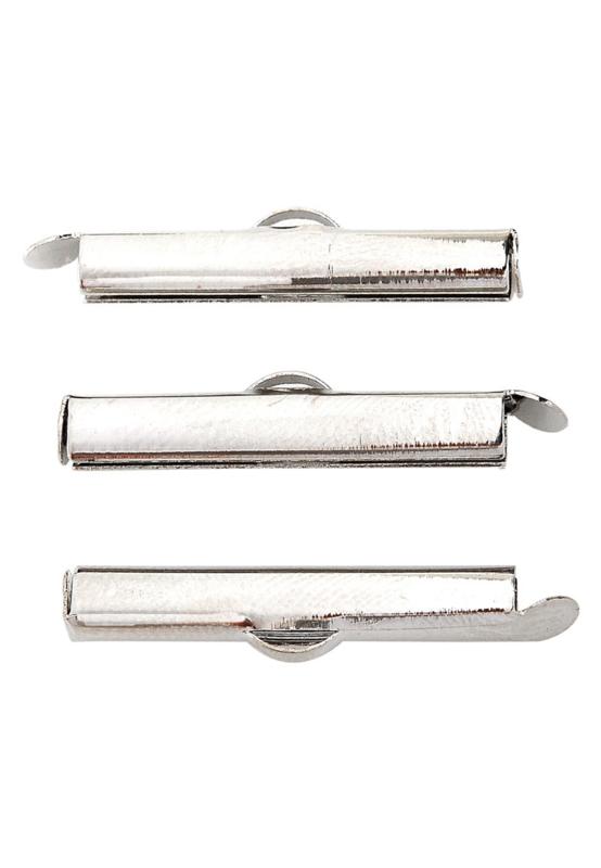 Embouts coulissantes de rocailles en métal 20x6mm /nickel / 10 pièces / KD23052