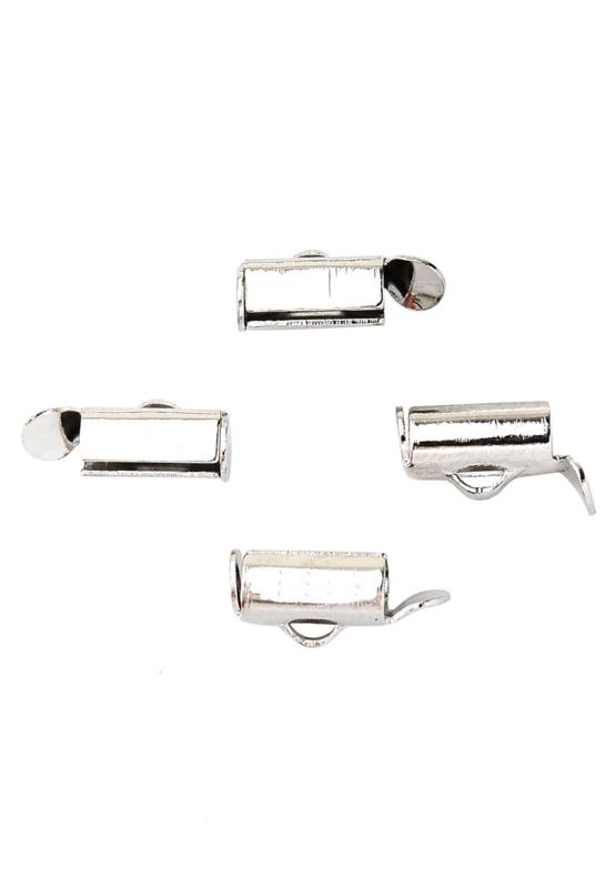 Slide end tube eindkapjes , zilverkleur 9x6mm/  10 stuks / KD23050
