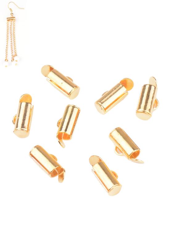 Slide end tube eindkapjes , Goudkleur 9x6mm/  10 stuks / KD21619