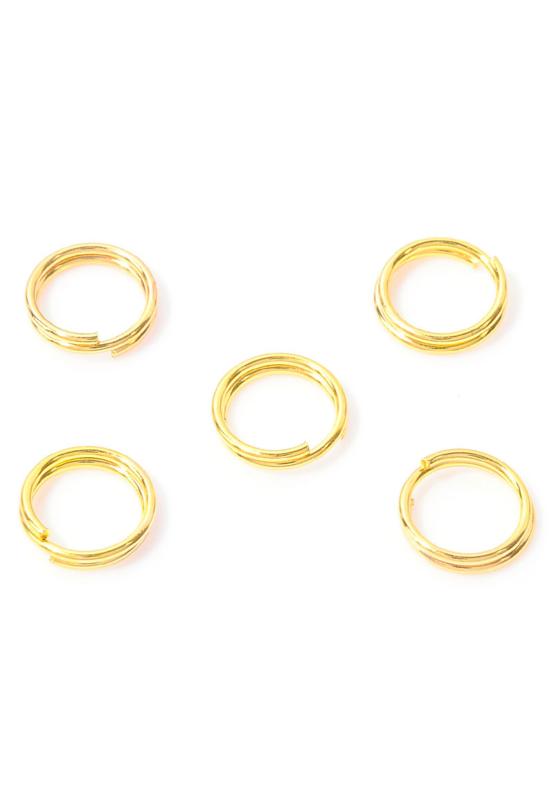 8mm Dubbel ringetjes goud, 0,7mm / 5 gram (ca 34 stuks) / KD32080