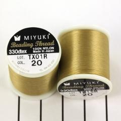 Miyuki Nylon  Rijgdraad B - Beige/Goudkleur - 50 meter - Nummer 20