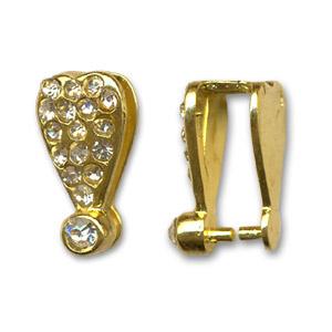 Attache pour pendentif Strass  Or 15 mm / Par pièce / KD24708