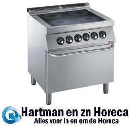 E17/4VCF8-N - Elektrisch fornuis 4 vitro keramische platen, elektrische oven GN 2/1 DIAMOND