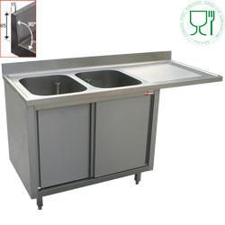 L1821VD-AS - Spoeltafel met 2 kuipen 500x500x325 rechts druipvlak op kast met 2 schuifdeuren en nis voor vaatwasser DIAMOND