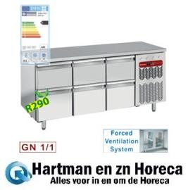 TG3N/H-R2+3XK1/2-H -Geheel  koelwerkbank met 6 lade's mm (BxDxH) : 1805x700xh880/900 DIAMOND
