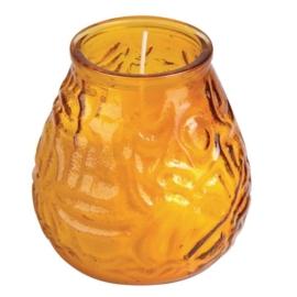 Y198 - Bolsius lowboy amber Verpakt per 12 stuks.
