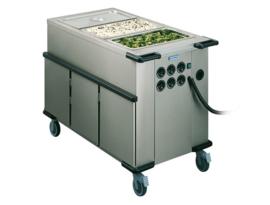 0162946 - HUPFER Voedseltransportwagen SPTW-3/EBF bakken met folie-verwarming en kastruimte met 5 geleiders