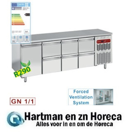 TG4N/H-R2+3XK1/2-H  - Koelwerkbank, geventileerd, 6 lade en 1 deur GN 1/1 DIAMOND