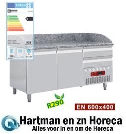 TP23/R2 - Pizza  voorbereidingstafel koelwerkbank voorbereidings   2 deuren 600x400 mm en 2 neutrale laden (4x bakken 600x400) afm : 1600x720(800)xh880/940(1090) DIAMOND