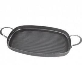 001077 - Grillpan met 2x grepen 380x260 mm