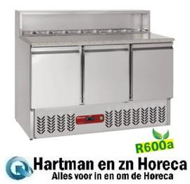 SR3/R6 - Voorbereidingstafel 3 deuren GN 1/1, 380 Lit , koelstructuur 8x GN1/6-150 mm -mm (BxDxH) : 1365x700xh850/1100 DIAMOND