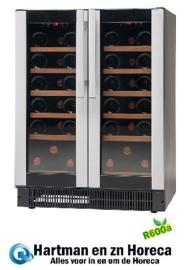 477800038 - Wijnklimaatkast, bedrijfsklaar 38 flessen vrijstaande-  inbouwversie, zwart, met 2 glazen deuren NORDCAP
