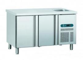 EURO LINE GNE/2 - EURO LINE 70 Geventileerde koelwerkbank met 2 deuren en spoelbak Topcold