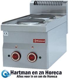 E60/2P3T - Elektrisch fornuis 2 kookplaten -Top- DIAMOND