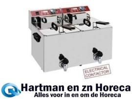 EF102-TN -  Elektrische friteuse tafelmodel 2x 10 liter + aftapkraan DIAMOND