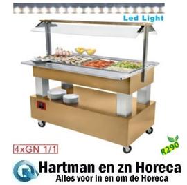 BSB/4N-D1-R2 - Buffet - Salade bar, gekoeld, 4x GN 1/1-150 (Licht eiken hout) DIAMOND