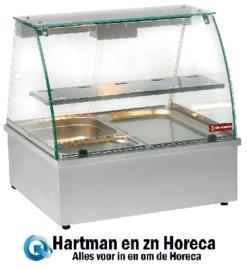 VBE-211 - Warmhoudvitrine bain-marie 2x GN 1/1, panoramische DIAMOND