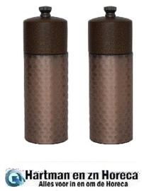 CR689 -Olympia koperen en houten zout- en pepermolenset 15cm