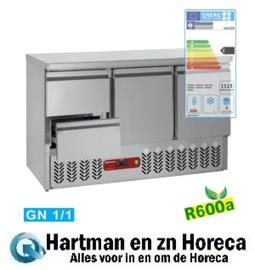SA3/R6+GC1/2/R6  - Koelwerkbank 2 deuren en 2 lade GN 1/1 mm (BxDxH) : 1365x700xh857/890 DIAMOND