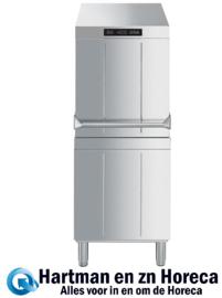 HTY505DS - Dubbelwandige professionele Smeg doorschuif vaatwasser , drukverhogingspomp en atmosferische boiler (HTR), afvoerpomp en drievoudig dynamisch filtersysteem, 500 mm korf, compleet met automatische waterontharder ECOLINE
