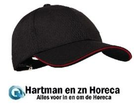 A945-Chef Works Cool Vent baseball cap zwart en rood