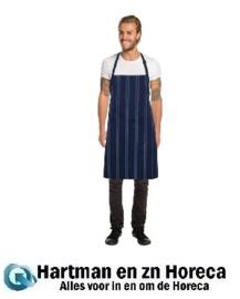 B450 - Chef Works Presidio donkerblauw satijn gestreept bistro schort