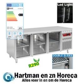 DT178/R2-VD - Geventileerde koelwerkbank, 3 glazen deuren GN 1/1, 405 Lit.mm (BxDxH) : 1755x700xh850/900 DIAMOND