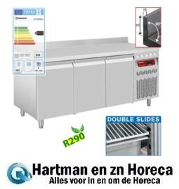 DT178/R2A - Koelwerkbank met opstaande rand geventileerd, 3 deuren GN 1/1, 405 liter mm (BxDxH) : 1775x700xh880/900 DIAMOND