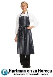 B249 - Chef Works Premium geweven schort blauw/wit gestreept afmeting: 94(b)x99(l)cm
