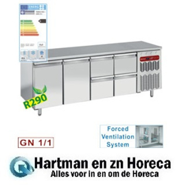 TG4N/H-R2+2XK1/2-H -Koelwerkbank , geventileerd, 2 deuren en 4 lade's GN 1/1 DIAMOND