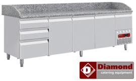 TP361/R2 - Koeltafel 3 deuren 600x400, 3 neutrale laden (8x bakken 600x400) + gereedschapslade