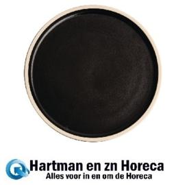 FA315 -Olympia Canvas platte ronde borden zwart 25cm -6stuks