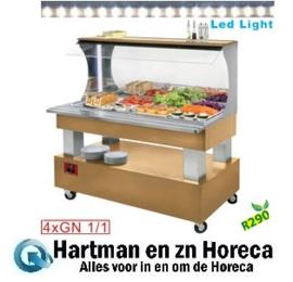 ASB/4N-D1-R2 - Buffet wandsalade bar, gekoeld, 4x GN 1/1-150 (Licht eiken hout) DIAMOND