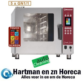 DFV-511/PTS - TOUCH SCREEN oven elektrische stoom/convectieoven, 5x GN 1/1 - AUTO-CLEANING DIAMOND