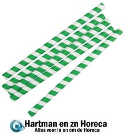 FB148 - Fiesta Green groen/wit gestreepte papieren smoothierietjes 21cm per 250 stuks